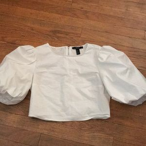 Forever 21 crop top with puff sleeve
